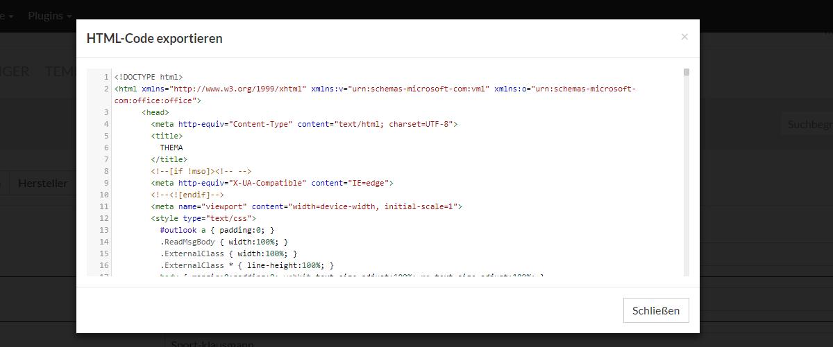 Kopiere den Code