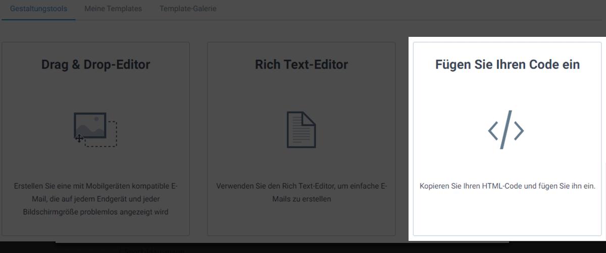 Wähle Code einfügen